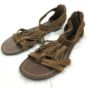 Minnetonka Brown Leather Suede Gladiator Sandal